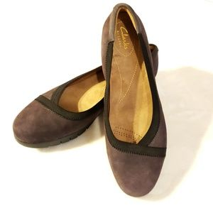 New CLARKS Artisan Wedge Flats Purple Suede 8 Wide